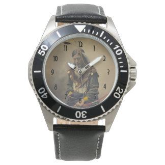 Vintage Photo Native American Lakota Indian Chief Wrist Watch