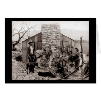 Vintage Photo of a Trappers Cabin Card