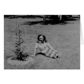 Vintage Photo of a Woman Sitting By A Little Tree Card