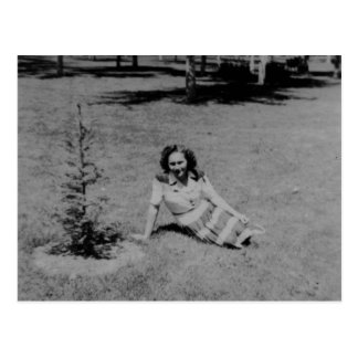 Vintage Photo of a Woman Sitting By A Little Tree Postcard