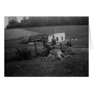 Vintage Photo Of Farming Couple Greeting Card