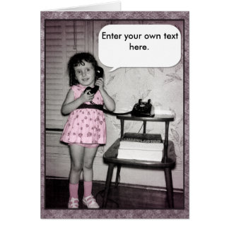 Vintage Photo of Girl on Phone Custom Text Greeting Card