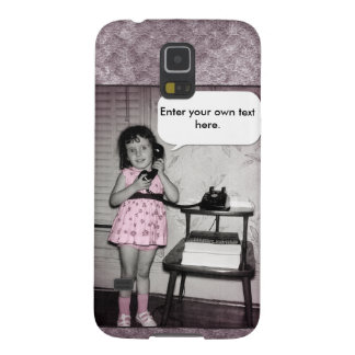 Vintage Photo of Girl on Phone Custom Text Galaxy S5 Case