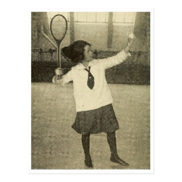 Beach Themed Vintage photo of girl playing tennis postcard