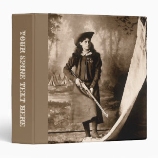 Vintage Photo of Miss Annie Oakley Holding a Rifle 3 Ring Binder