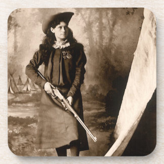 Vintage Photo of Miss Annie Oakley Holding a Rifle Beverage Coaster