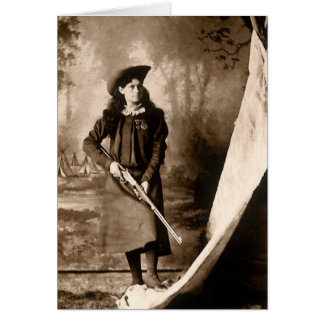 Vintage Photo of Miss Annie Oakley Holding a Rifle Card