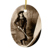 Vintage Photo of Miss Annie Oakley Holding a Rifle Ceramic Ornament