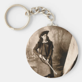 Vintage Photo of Miss Annie Oakley Holding a Rifle Keychain