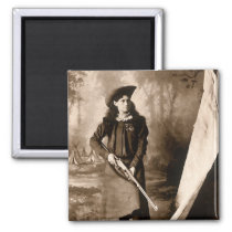 Vintage Photo of Miss Annie Oakley Holding a Rifle Magnet