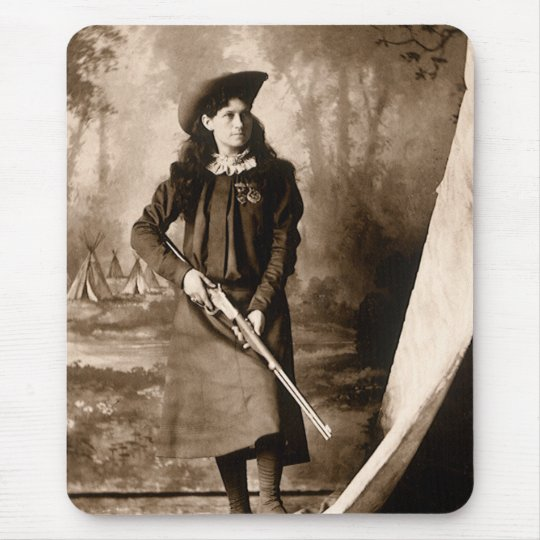 Vintage Photo of Miss Annie Oakley Holding a Rifle Mouse Pad
