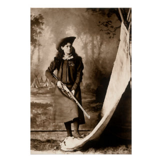 Vintage Photo of Miss Annie Oakley Holding a Rifle Poster