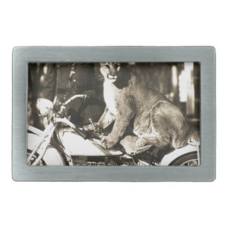 vintage photo of police officer on motorcycle puma belt buckle