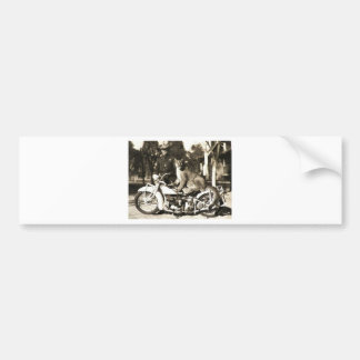 vintage photo of police officer on motorcycle puma car bumper sticker