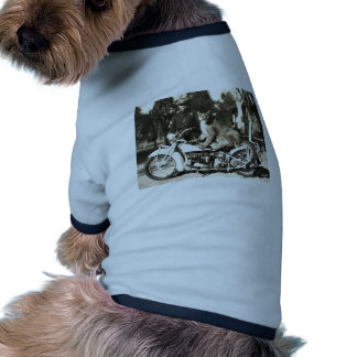 vintage photo of police officer on motorcycle puma doggie tee shirt