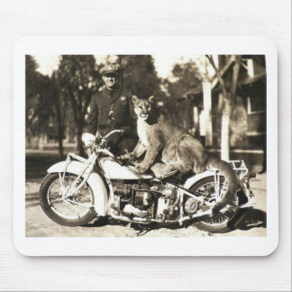 vintage photo of police officer on motorcycle puma mouse pad
