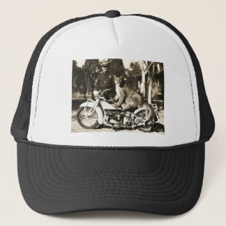 vintage photo of police officer on motorcycle puma trucker hat