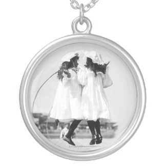 Vintage Photo of Two Little Girls Playing Round Pendant Necklace
