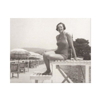 Vintage photo of woman in Cannes in 1930s Canvas Print