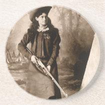 Vintage Photo Portrait, Miss Annie Oakley and Gun Coaster