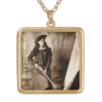 Vintage Photo Portrait, Miss Annie Oakley and Gun Gold Plated Necklace