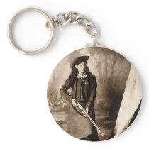Vintage Photo Portrait, Miss Annie Oakley and Gun Keychain