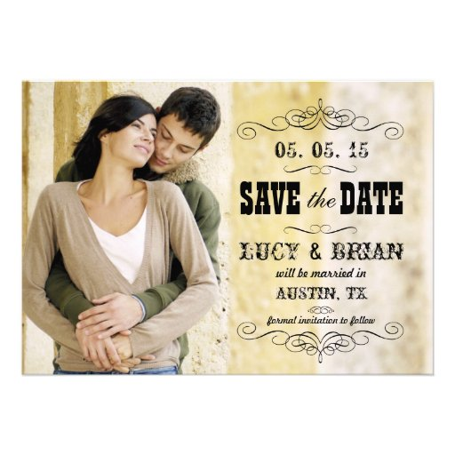 VINTAGE PHOTO SAVE THE DATE CUSTOM ANNOUNCEMENT