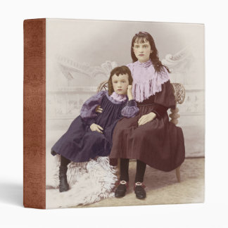 Vintage Photo Two Young Girls Tinted 3 Ring Binder