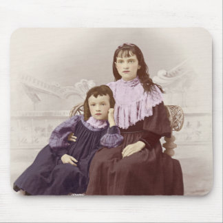 Vintage Photo Two Young Victorian Girls Tinted Mouse Pad