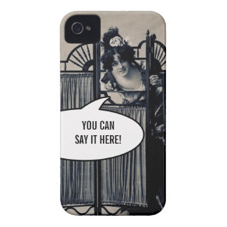 Vintage Photo Woman Behind Screen Fun iPhone Case