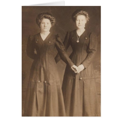 Vintage Photo Women Holding Hands Sepia Toned Card