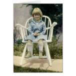 Vintage Photo Young Girl in Big White Chair