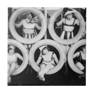 Vintage Photograph Bathing Beauties Tile