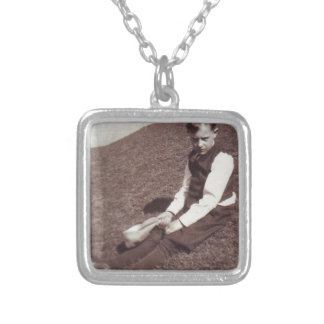 Vintage Photograph Boy in Grass Square Pendant Necklace