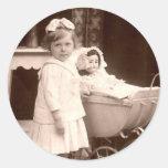 Vintage Photograph Child with Pram Sticker