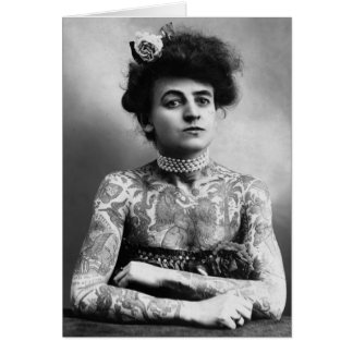 Vintage Photograph Confident Woman Tattoos Card