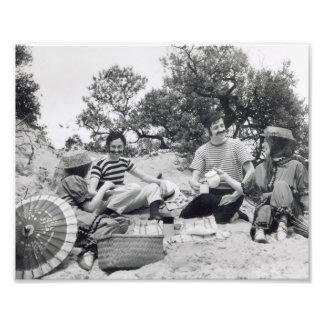 Vintage photograph Edwardian picnic on the beach