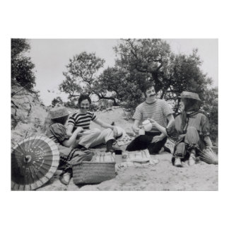 Vintage photograph Edwardian picnic on the beach Poster