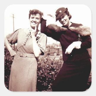 Vintage Photograph Funny Ladies Square Sticker