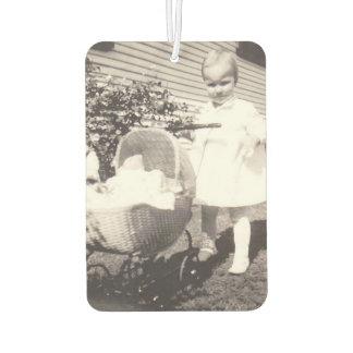 Vintage Photograph Little Girl w Baby Buggy Car Air Freshener
