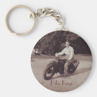 Vintage Photograph Motorcycle Novelty Keychain