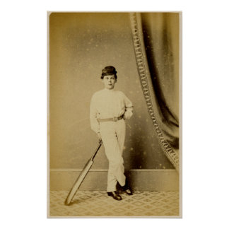 VIntage Photograph of a Young Cricket Player Posters