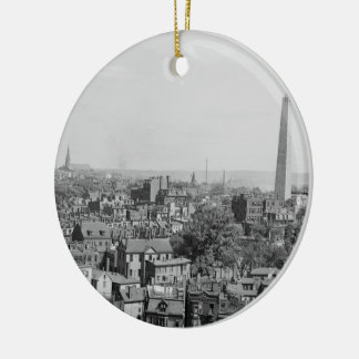 Vintage Photograph of Charlestown Massachusetts Double-Sided Ceramic Round Christmas Ornament