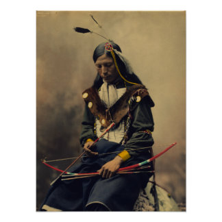 Vintage Photograph of Cherokee Man with Bow Poster
