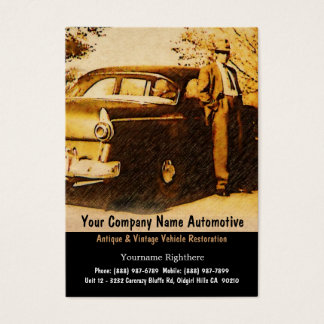 Vintage Photograph of Old Fashioned man and Car Business Card