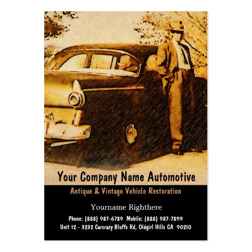 Vintage Photograph of Old Fashioned man and Car Business Card Template