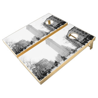 Vintage Photograph of The NYC Flat Iron Building Cornhole Set