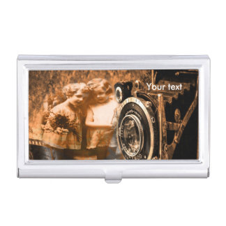 Vintage photograph of two Children posing Business Card Case