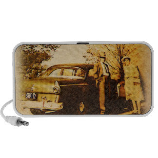 Vintage Photograph - Sunday Drive Couple Portable Speakers