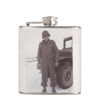 Vintage Photograph WWII Soldier Flask